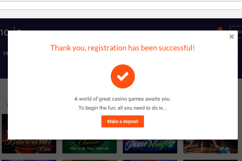 bitcasino.io account setup complete