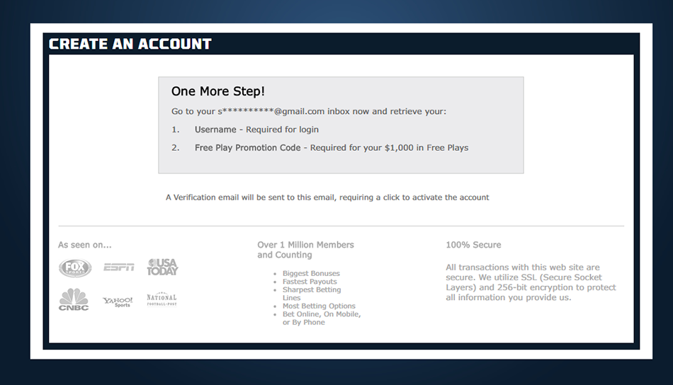 sportbetting.ag account registration confirmation