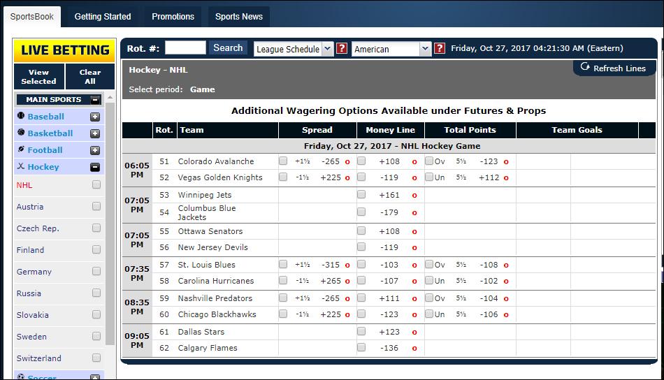 sportbetting.ag betting interface hockey
